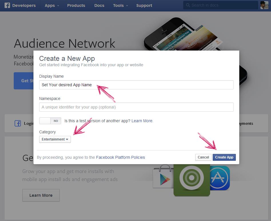 facebook app ip creation step 3