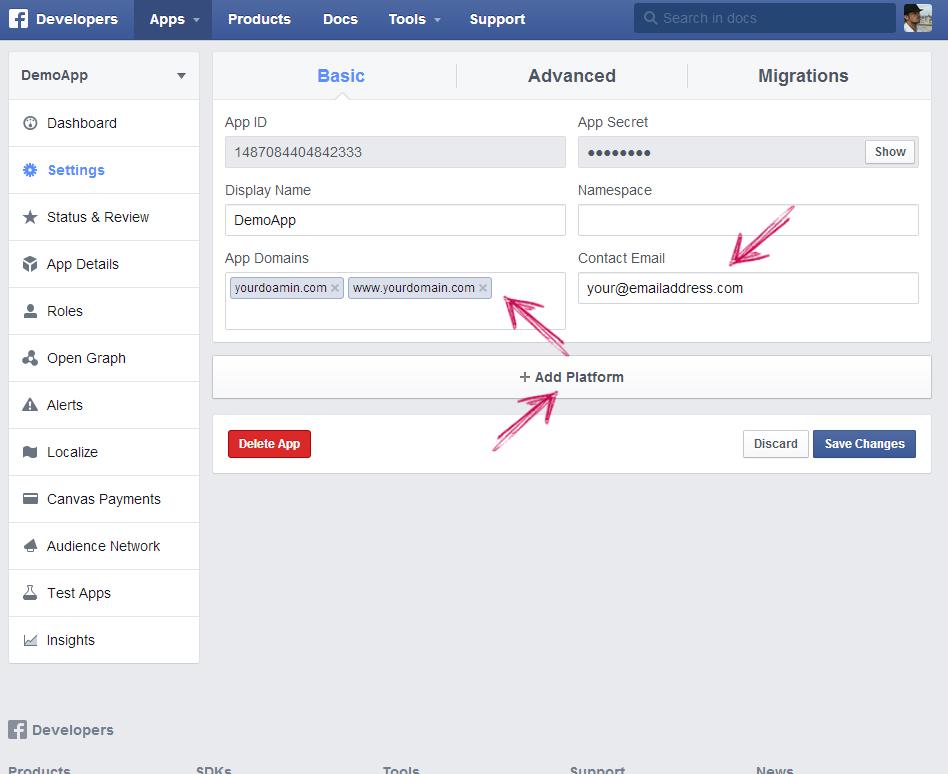 facebook app ip creation step 6