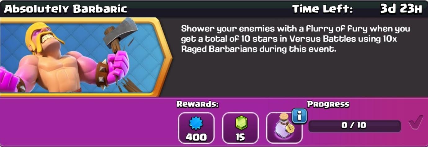 clash of clan Absolutely Barbaric reward