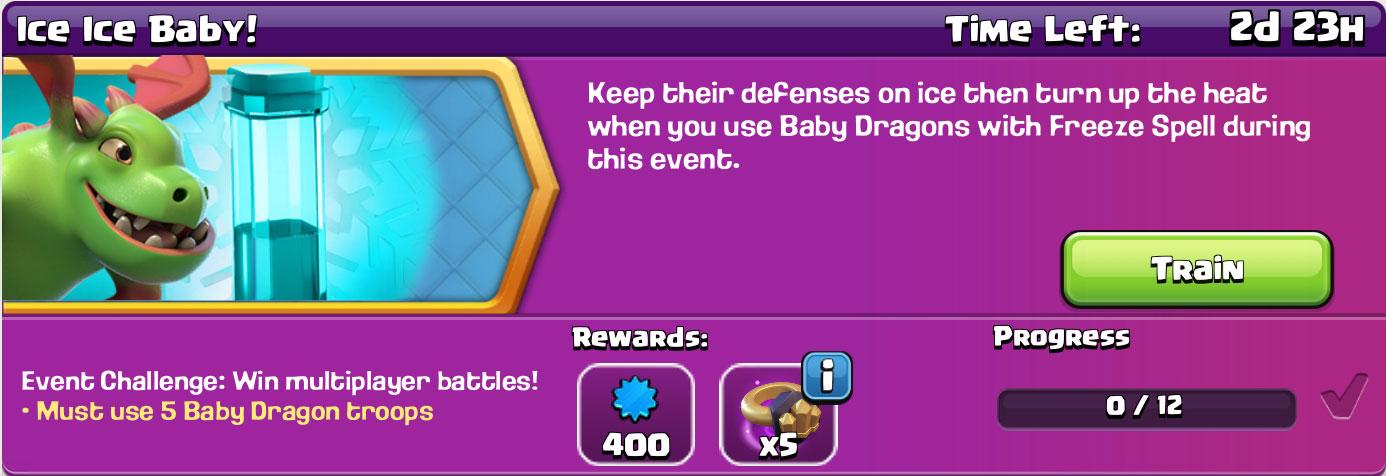 clash of clan Ice Ice Baby reward