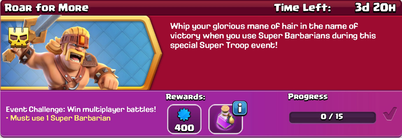 clash of clan Roar for More reward