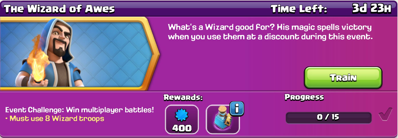 clash of clan The Wizard of Awes reward
