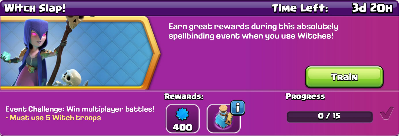 clash of clan Witch Slap reward