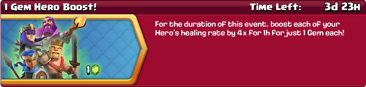 clash of clan 1 gem hero boost reward