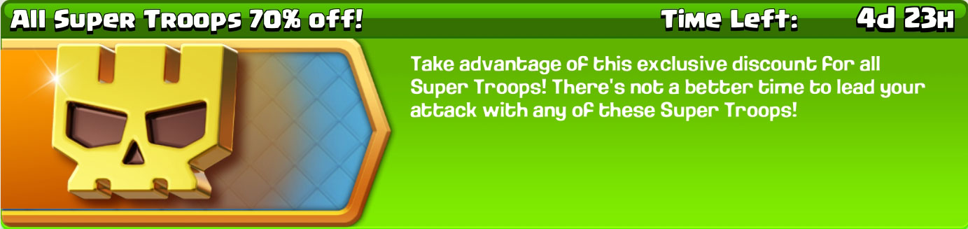 upcoming discounted super troops event