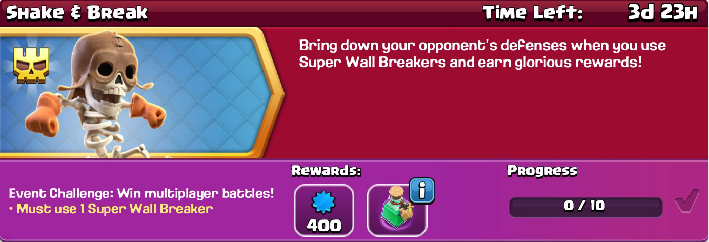 clash of clan shake & break reward